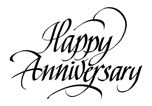 Happy Anniversary Calligraphic Inscription. Calligraphic Lettering Design Template. Creative Typography for Greeting Card, Gift Poster, Banner etc.