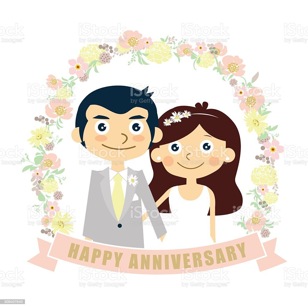 happy anniversary card couple wedding vector illustration