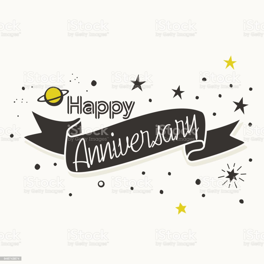 Happy Anniversary Card Design With Stars Stock Illustration - Download  Image Now - iStock