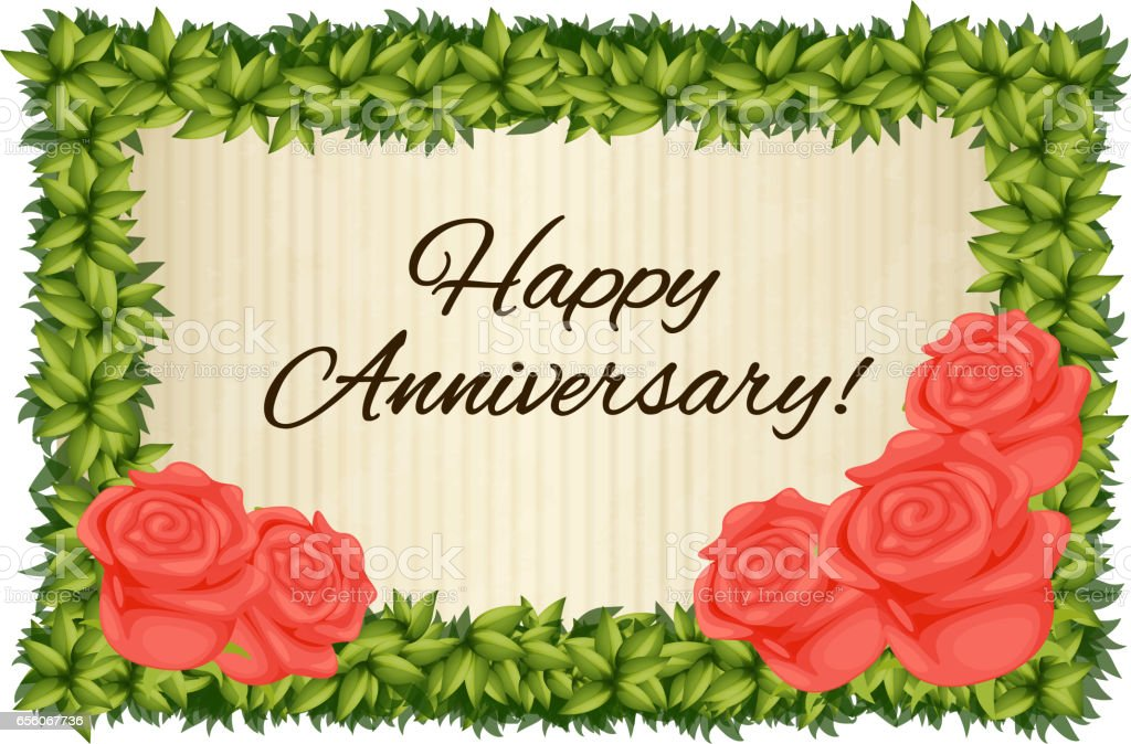 happy anniversary card template with red roses stock vector art