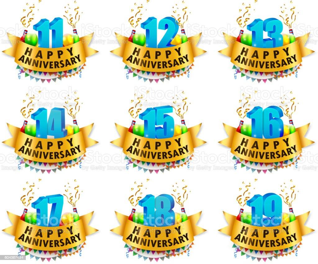 Happy Anniversary Celebration sets vector art illustration