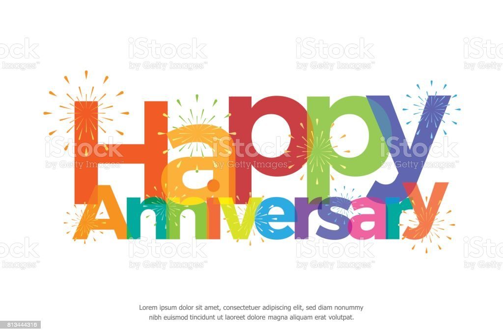happy anniversary colorful with fireworks - illustrazione arte vettoriale