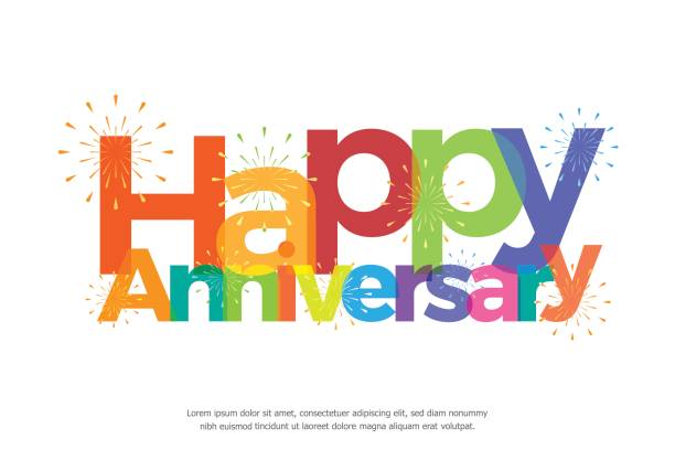 happy anniversary colorful with fireworks vector art illustration