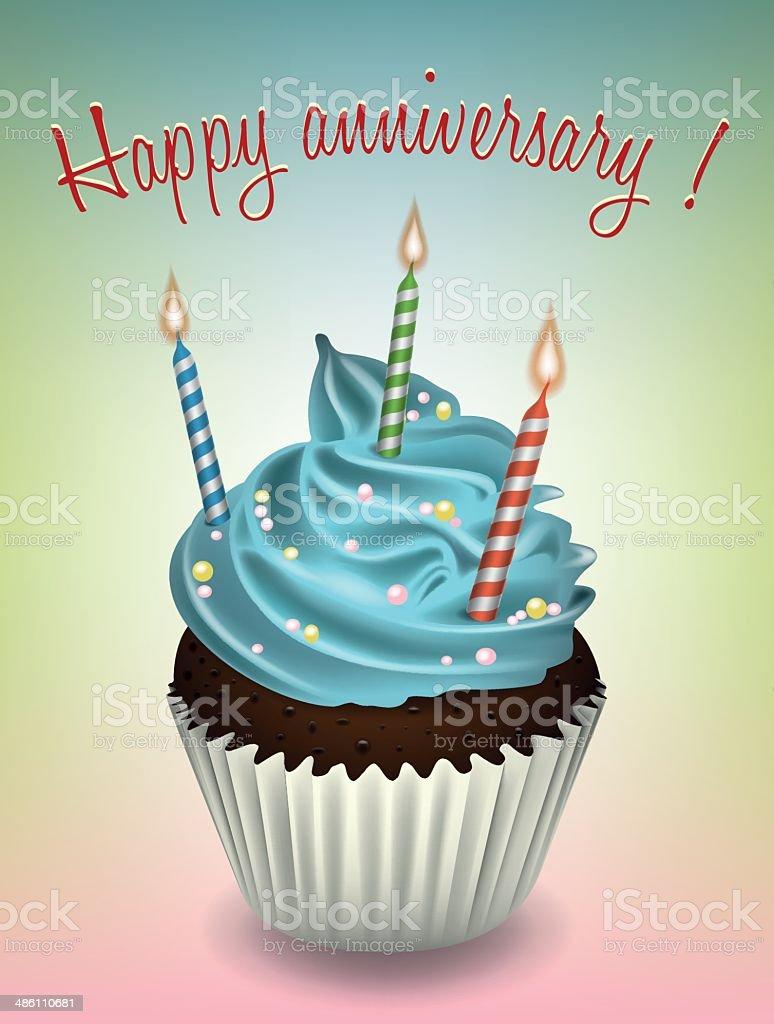 Felice anniversario cupcake - illustrazione arte vettoriale