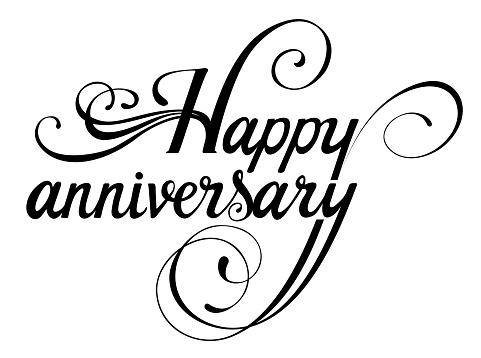 Happy anniversary - custom calligraphy text