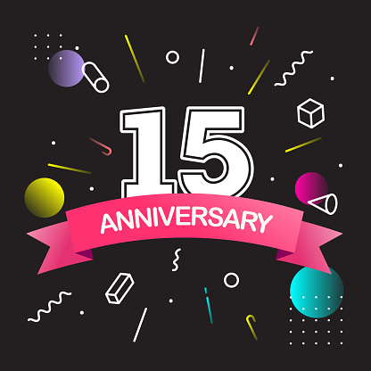 Happy Anniversary Design with Colorful Abstract Background. Vector Design Template.