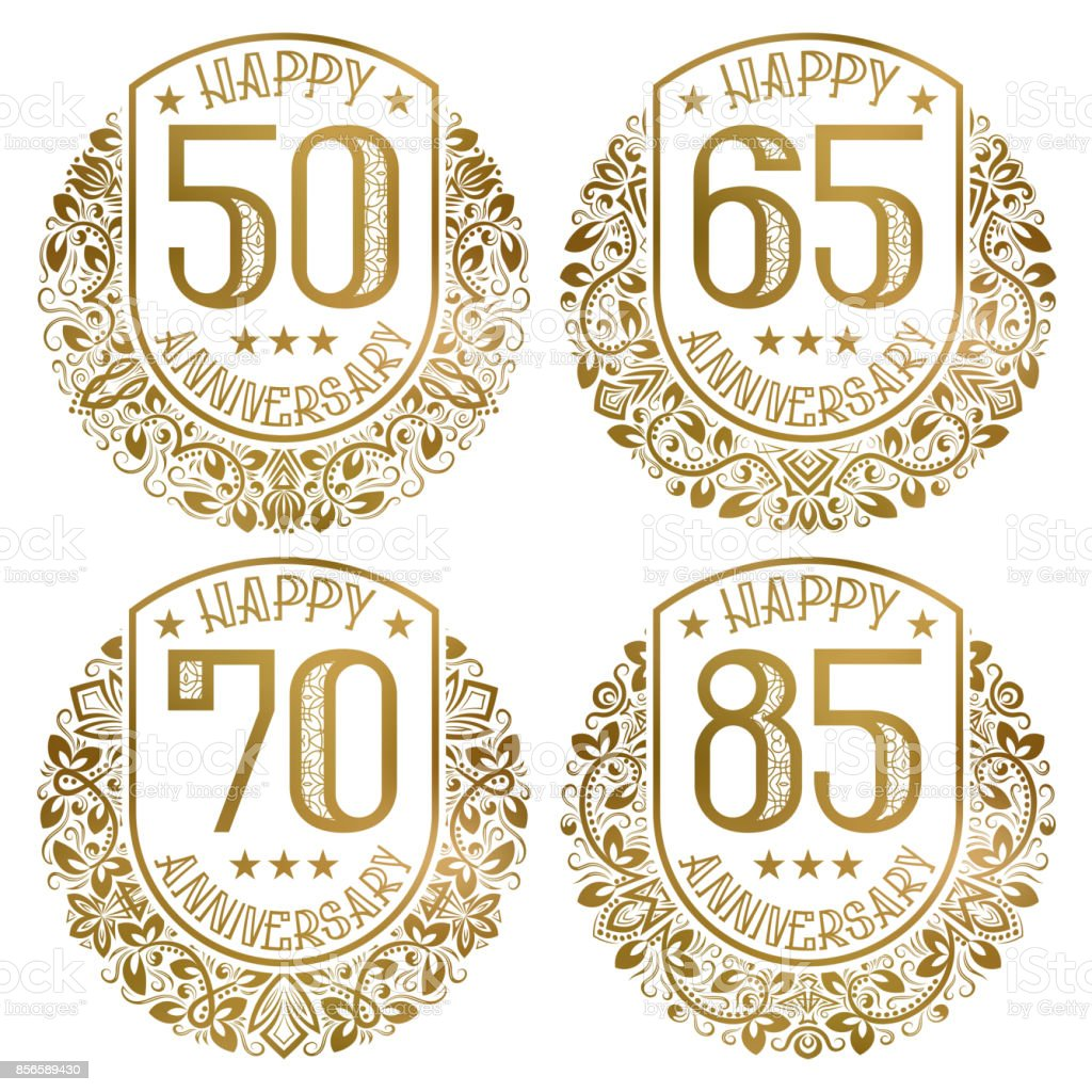 Happy anniversary emblems set. Vintage golden stamps for festive greetings and invitations. vector art illustration