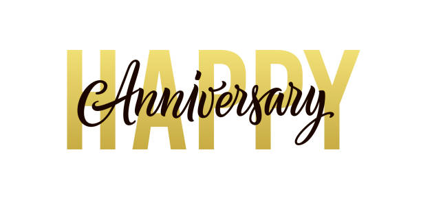 Happy anniversary. Gold, black and white greeting card design. Vector happy anniversary text isolated on white background for banner, background, poster, backdrop, and invitation. Holiday illustration Happy anniversary. Gold, black and white greeting card design. Vector happy anniversary text isolated on white background for banner, background, poster, backdrop, and invitation. Holiday illustration anniversary stock illustrations