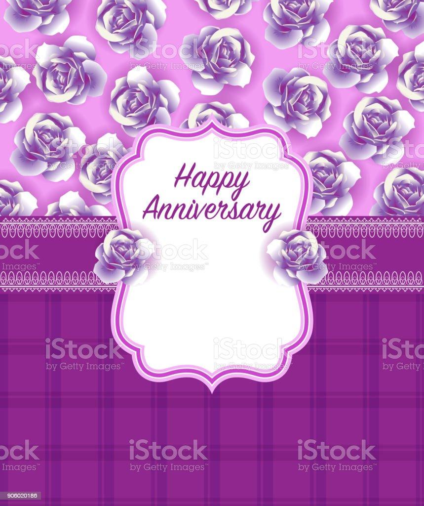 Happy Anniversary Greeting Card Design - illustrazione arte vettoriale