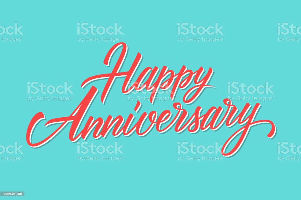 Happy Anniversary hand lettering greetings template. - illustrazione arte vettoriale
