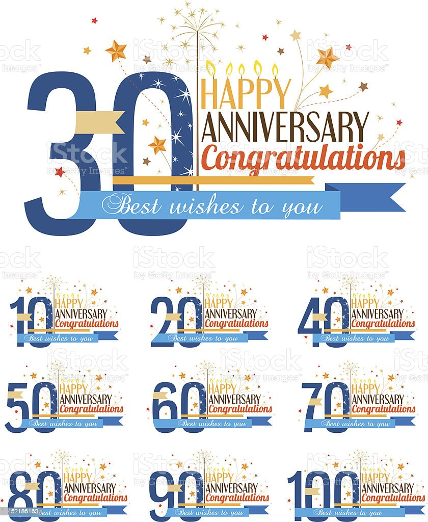 Happy anniversary labels. - Royaltyfri 20-24 år vektorgrafik