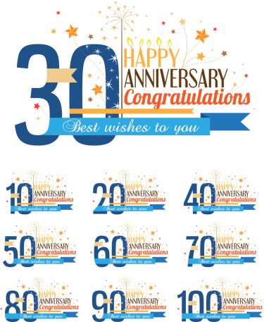 Happy Anniversary Labels-vektorgrafik och fler bilder på 20-24 år