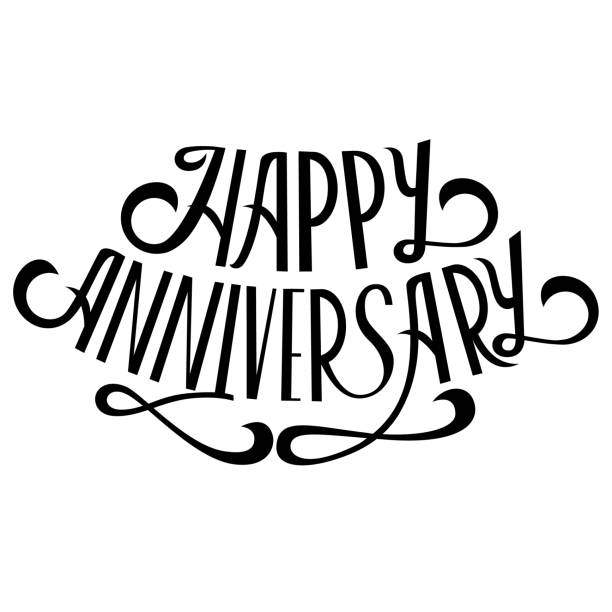Happy anniversary lettering on white background. Callygraphy card template. Vector vector art illustration