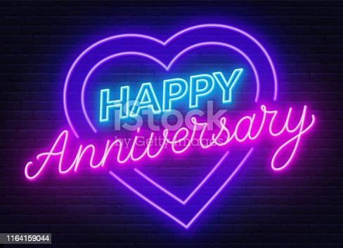 Happy anniversary neon sign. Greeting card on dark background. Vector illustration.