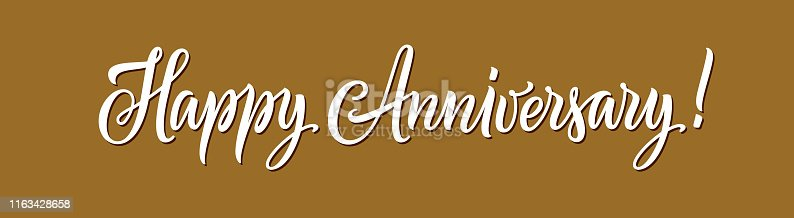 Happy anniversary text. Hand drawn gold and white color lettering for greeting card, horizontal banner, invitation, and poster. Calligraphy vector illustration and quote. Happy anniversary typography.