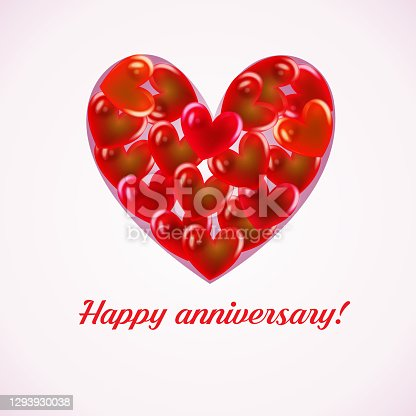 Happy anniversary valentines day red love heart symbol greetings card vector image design web template