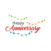 Happy Anniversary Vector Template Design