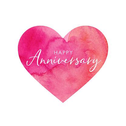 Happy Anniversary Watercolour Heart