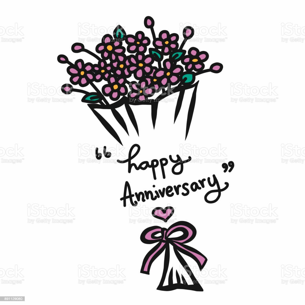 Happy Anniversary Word And Flower Bouquet Cartoon Vector