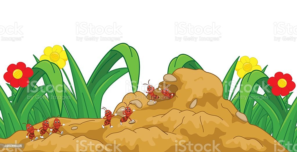 happy ant cartoon in the nest vector art illustration