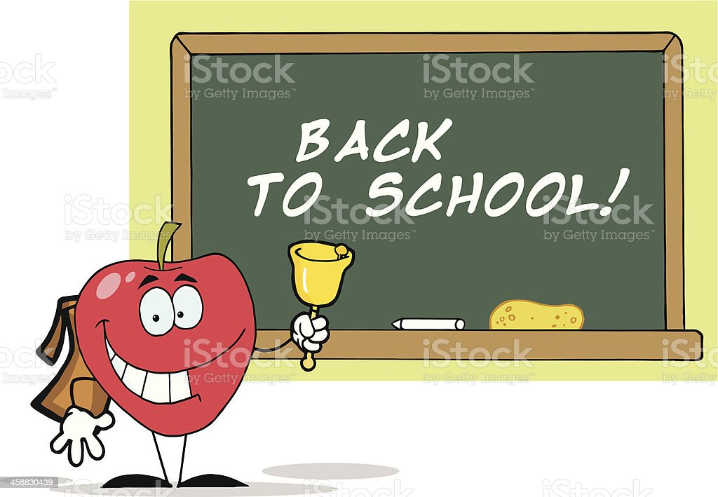 Happy Apple In Front Of A Chalkboard With Background