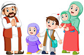 illustration of Happy arab family couple with children