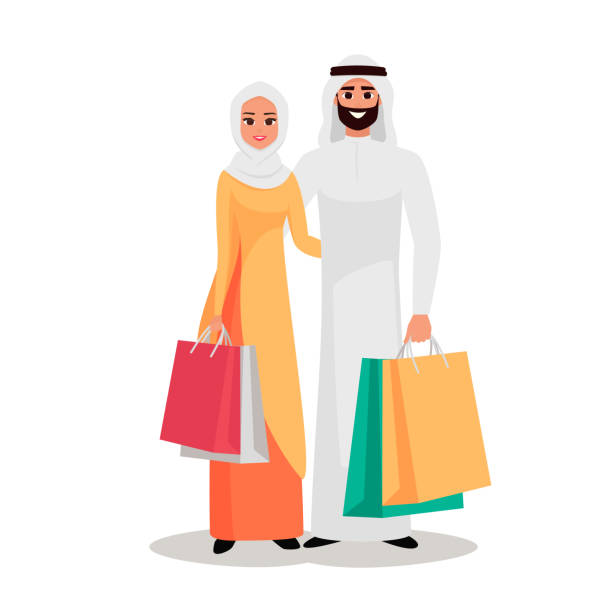 happy arab family is shopping - arab stock illustrations