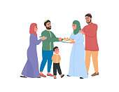 Happy arabian families exchanging food flat color vector faceless characters. Celebrate religious holiday together. Ramadan isolated cartoon illustration for web graphic design and animation
