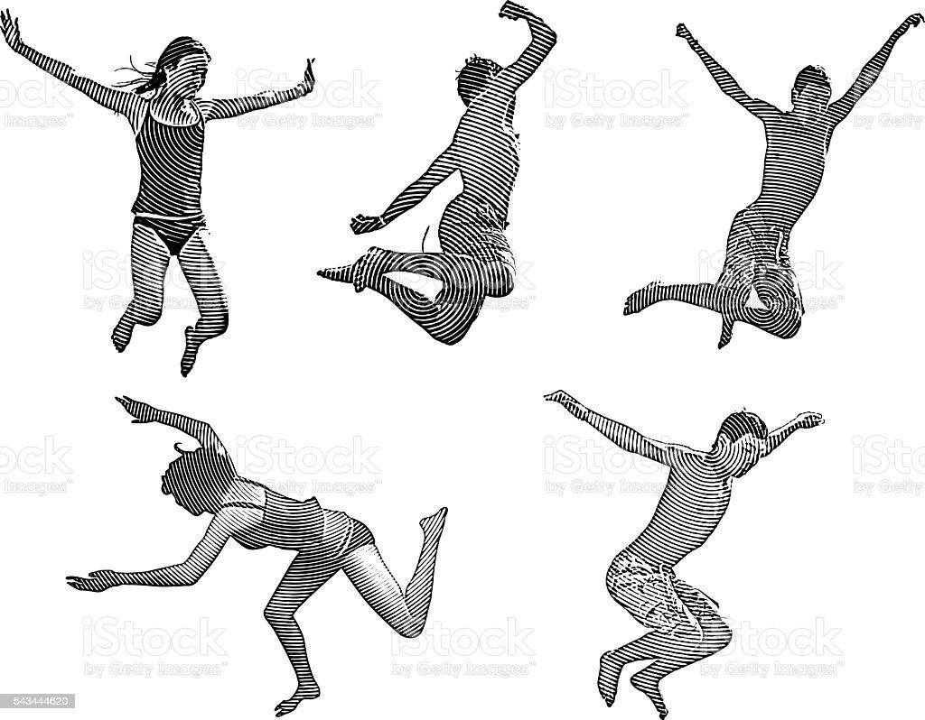 Happy Asian Kids Jumping vector art illustration