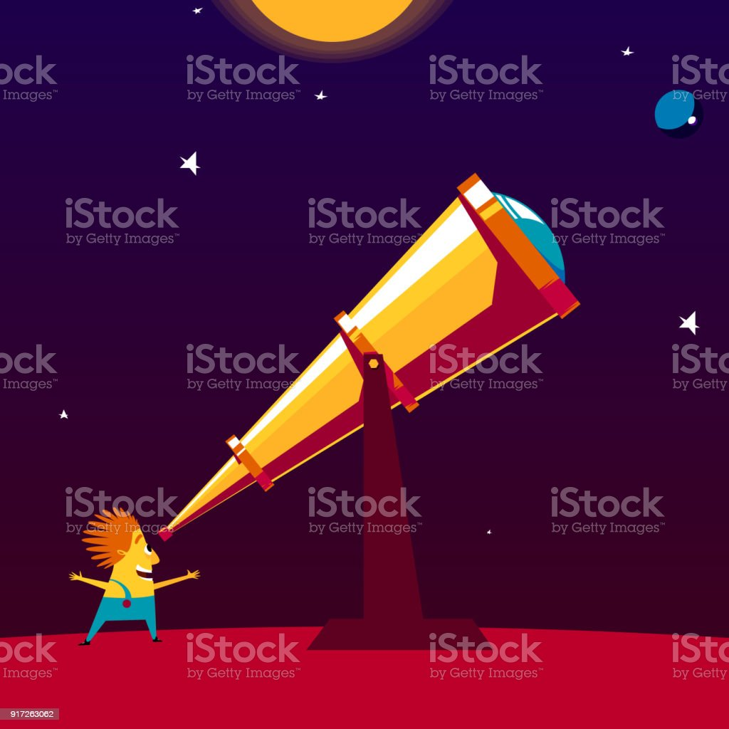 Astronome heureux je regarde à travers un télescope - Illustration vectorielle