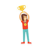Happy athletes girl with a first place medal holding winner cup, kid celebrating her victory cartoon vector Illustration