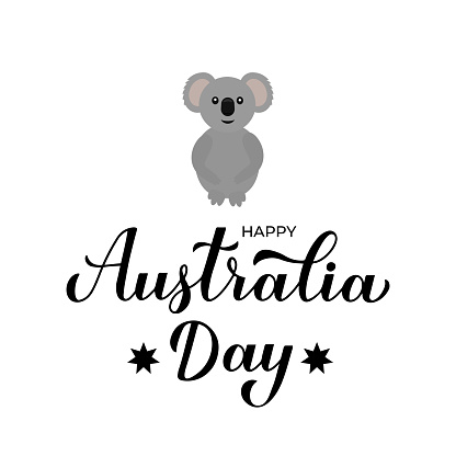 Happy Australia day calligraphy hand lettering. Cute cartoon koala. Vector template for banner, typography poster, greeting card, flyer, t shirt, postcard, etc.