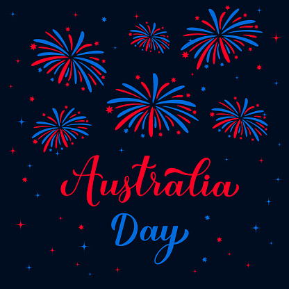 Happy Australia day calligraphy hand lettering. Fireworks in the night sky. Vector template for banner, typography poster, greeting card, flyer, t shirt, postcard, etc