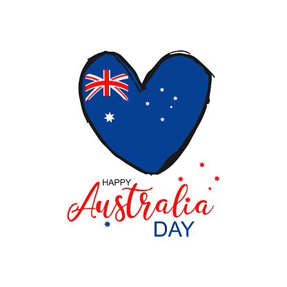 Happy Australia Day greeting card. Australian flag with grunge heart vector illustration  with hand drawn calligraphy lettering and watercolor Australia nation symbol on white background.