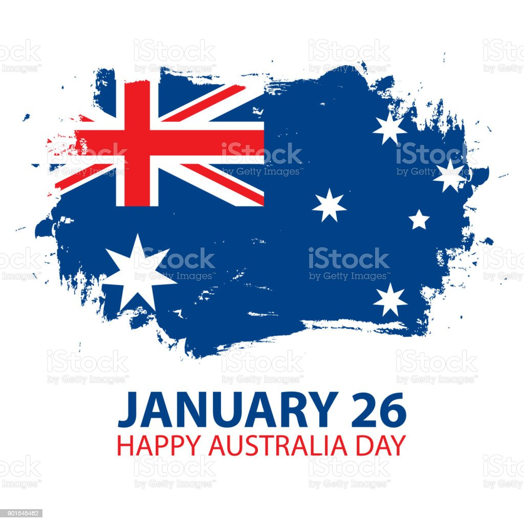 Happy australia day january 26 greeting card with brush stroke in happy australia day january 26 greeting card with brush stroke in colors of the australian m4hsunfo