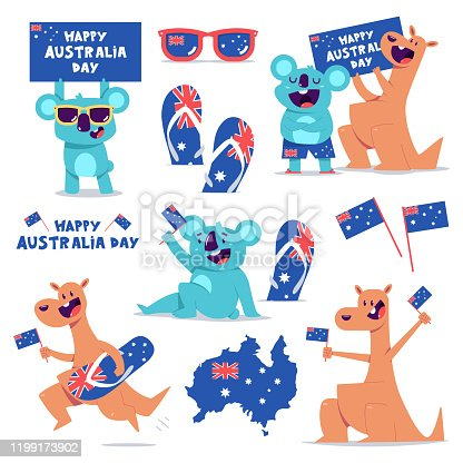 istock Happy Australia Day vector concept illustration set with cute kangaroo and koala characters isolated on a white background. 1199173902