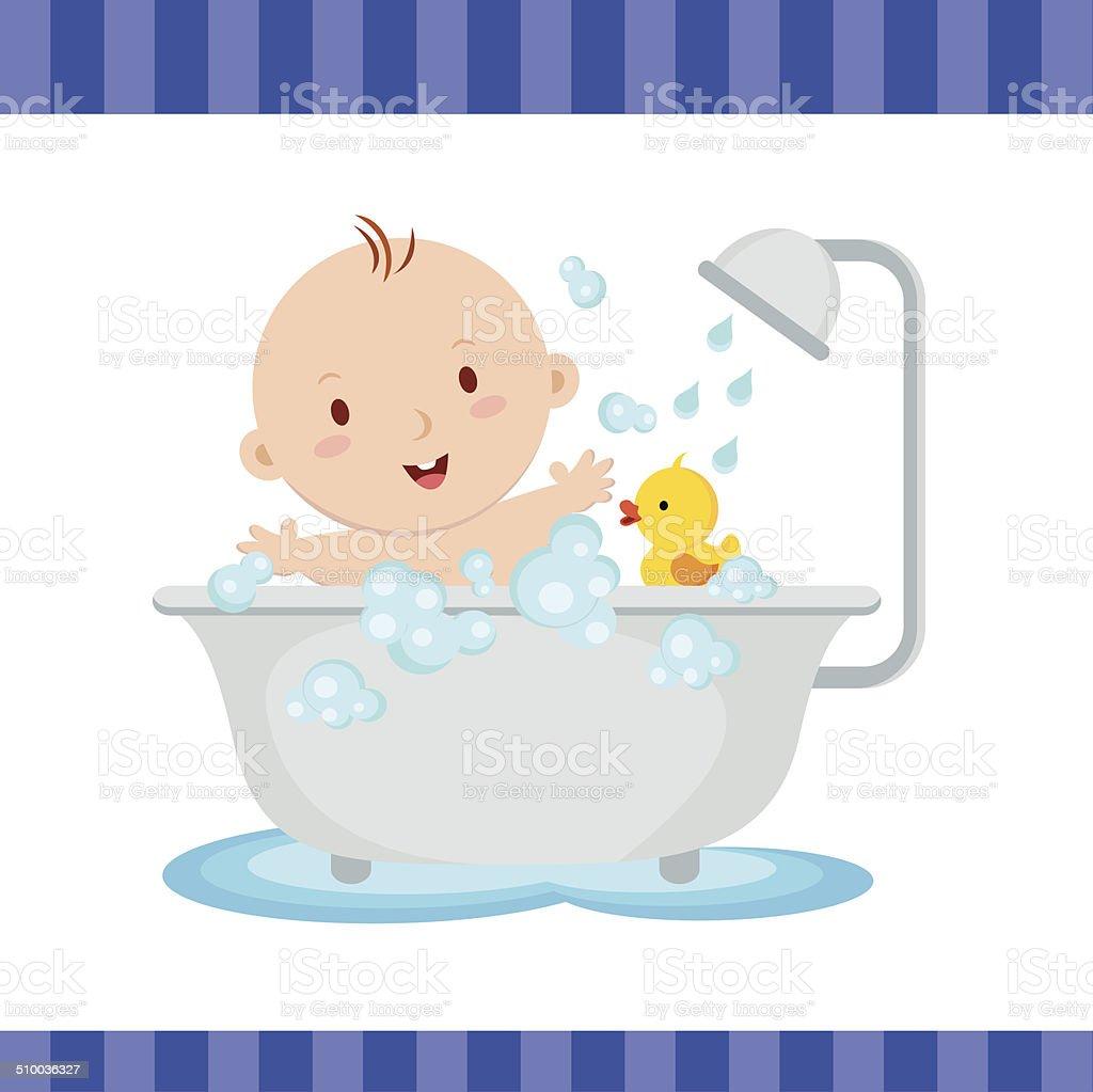 Happy baby boy bath vector art illustration