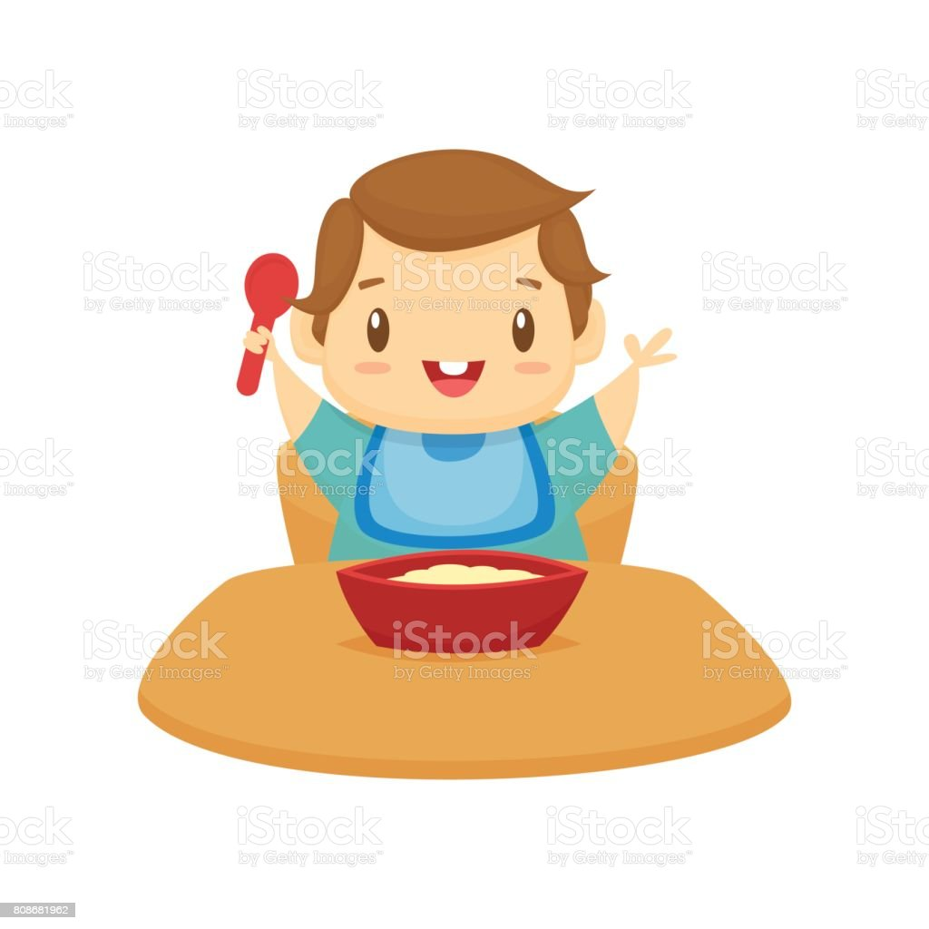 Happy baby eating cartoon vector illustration vector art illustration