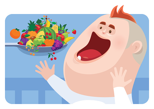 vector illustration  of happy baby eating fruits