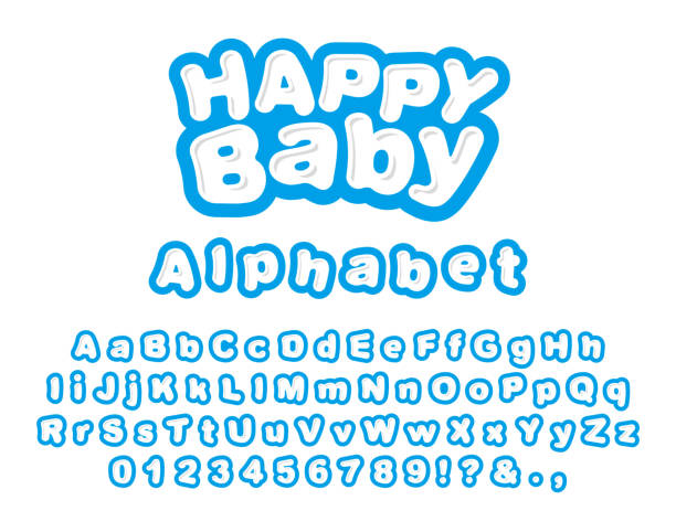 happy baby. english alphabet - bubble fonts stock illustrations