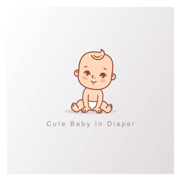 ilustrações de stock, clip art, desenhos animados e ícones de happy baby girl boy in diaper sitting isolated. - somente crianças