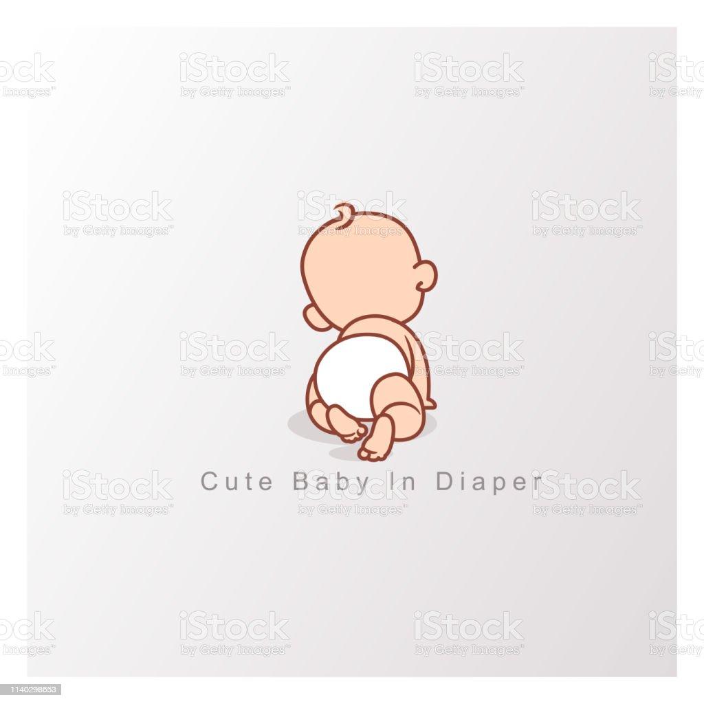 Gelukkig baby meisje of jongen. Uitzicht vanaf de achterkant. - Royalty-free Alleen kinderen vectorkunst