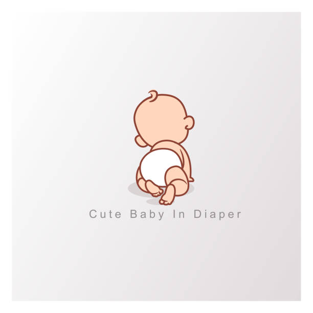 Happy baby girl or boy. View from back. Cute little baby crawling  in diaper isolated.  Design template. Vector color illustration. babies stock illustrations