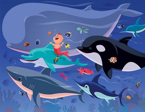 happy baby mermaid gathering with sea creatures