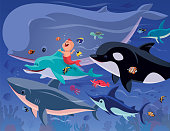 vector illustration of happy baby mermaid gathering with sea creatures