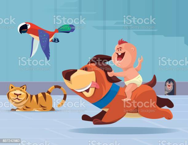 Happy baby riding puppy and chasing parrot vector id837242562?b=1&k=6&m=837242562&s=612x612&h=ogc9zwzk033sujg8wwjb0y6vcjuk3fxgidjwj9kx8ba=