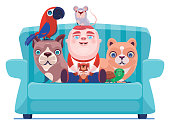 vector illustration of happy baby sitting on sofa with pets