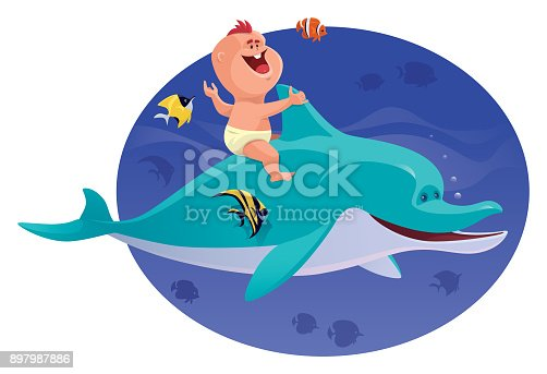 istock happy baby with dolphin and tropical fishes 897987886