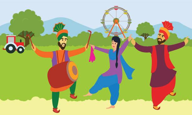 szczęśliwy baisakhi. mężczyzna i kobieta wykonujący taniec ludowy bhangra z pendżabu. - happy holidays stock illustrations