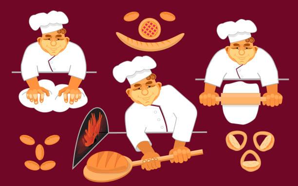 bildbanksillustrationer, clip art samt tecknat material och ikoner med glada bagare att göra bröd. - arbeta köksbord man